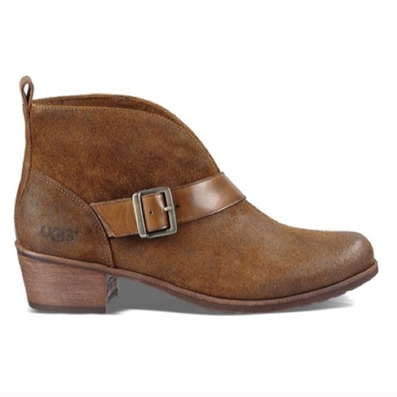 ae5c1a18656 UGG WRIGHT BELTED ANKLE SUEDE BOOTS NWT